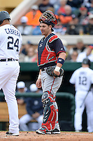 Atlanta Braves catcher Jose Yepez (71) during a spring training game against the Detroit Tigers on February 27, 2014 at Joker Marchant Stadium in Lakeland, Florida.  Detroit defeated Atlanta 5-2.  (Mike Janes/Four Seam Images)