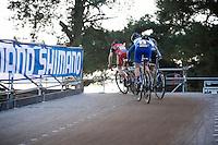 race leaders Mathieu Van der Poel (NLD/BKCP-Corendon), Kevin Pauwels (BEL/Sunweb-Napoleon Games) &amp; Lars Van der Haar (NLD/Giant-Alpecin)<br /> <br /> UCI Cyclocross World Cup Heusden-Zolder 2015