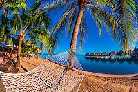 Hammock on the beach, Hilton Moorea Lagoon Resort, island of Moorea, French Polynesia.