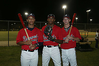 Calvin Mitchell, Joe Gray Jr, and Drew Waters (L-R) during the WWBA World Championship at the Roger Dean Complex on October 20, 2016 in Jupiter, Florida.  (Greg Wagner/Four Seam Images)