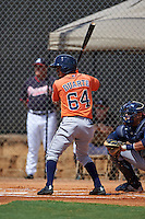 Houston Astros Osvaldo Duarte (64) during an instructional league game against the Atlanta Braves on October 1, 2015 at the Osceola County Complex in Kissimmee, Florida.  (Mike Janes/Four Seam Images)