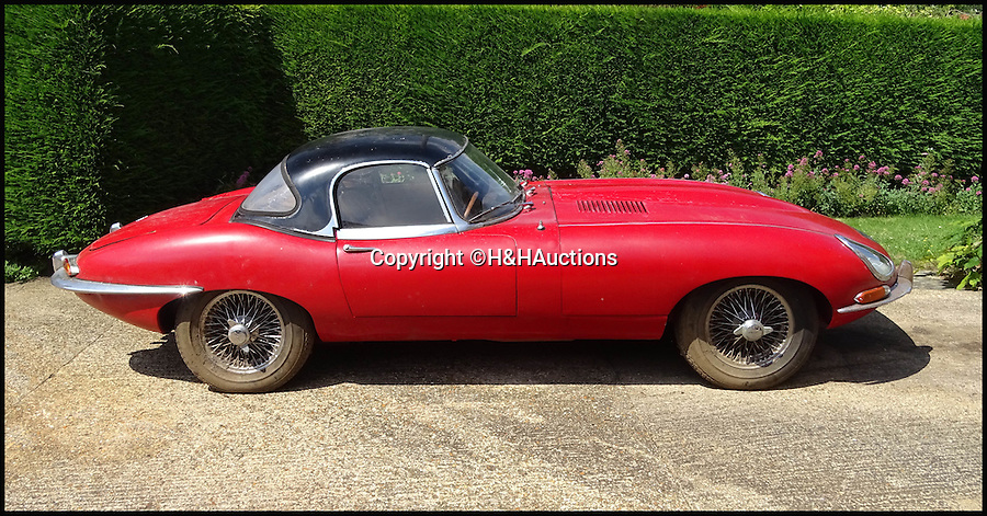 BNPS.co.uk (01202 558833)<br /> Pic: H&HAuctions/BNPS<br /> <br /> A rare E-type Jaguar that was buried under an overgrown bush for more than 20 years is tipped to sell for £65,000 after being salvaged.<br /> <br /> The famous sports car was snapped up by a classic motoring enthusiast after its elderly owner died.<br /> <br /> It was found hidden under a tarpaulin among a huge holly bush in the garden of the property in the Bedfordshire area.