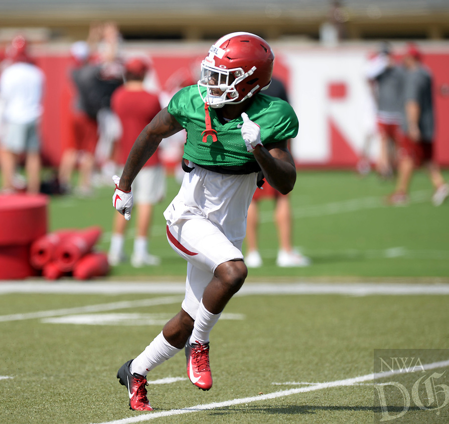 NWA Democrat-Gazette/ANDY SHUPE<br /> Arkansas defensive back Kamren Curl runs Tuesday, Aug. 13, 2019, during practice at the university practice facility in Fayetteville. Visit nwadg.com/photos to see photographs from the practice.