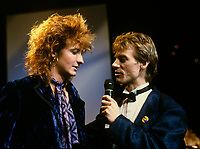 Montreal (Qc) CANADA - Sept 2nd 1986 - Musique PLus Gala : Mark Holmes, singer of Platinum Blondes (L) interviewed by Marc Carpentier