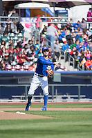 Whit Merrifield (3) of the Omaha Storm Chasers before the game against the Memphis Redbirds in Pacific Coast League action at Werner Park on April 22, 2015 in Papillion, Nebraska.  (Stephen Smith/Four Seam Images)