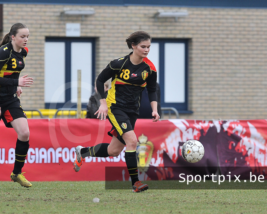 Denmark U17 - Belgium U17 : Lotte Aertsen.foto DAVID CATRY / Vrouwenteam.be