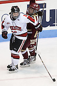 Colleen Murphy (NU - 10), Dana Trivigno (BC - 8) - The Northeastern University Huskies defeated Boston College Eagles 4-3 to repeat as Beanpot champions on Tuesday, February 12, 2013, at Matthews Arena in Boston, Massachusetts.