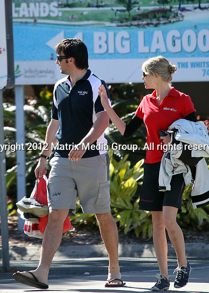 AIRLIE BEACH QLD AUSTRALIA..***EXCLUSIVE***..Jessica Watson pictured with her new boyfriend and long time sailing companion Cameron Dale at Airlie Beach. The couple are in Airlie Beach for the Telcoinabox Airlie Beach Race Week 2012 - both Jessica and Cameron are guest sailors on the IRC yacht 'White Noise'.  ....*No internet without clearance*.MUST CALL PRIOR TO USE ..+61 2 9211-1088.Matrix Media Group.Note: All editorial images subject to the following: For editorial use only. Additional clearance required for commercial, wireless, internet or promotional use.Images may not be altered or modified. Matrix Media Group makes no representations or warranties regarding names, trademarks or logos appearing in the images.
