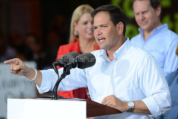 MIAMI, FL - AUGUST 13:  Florida Republican Senator Marco Rubio appeared with Mitt Romney at El Palacio de los Jugos on August 13, 2012 in Miami, Florida.<br /> <br /> People:  Florida Republican Senator Marco Rubio<br /> <br /> Transmission Ref:  FLXX<br /> <br /> Hoo-Me.com / MediaPunch