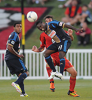 D.C. United midfielder Freddy Adu (11) heads the ball against D.C. United defender Emiliano Dudar (19) The Philadelphia Union defeated D.C. United 2-1in extra time at the round of sixteen of the Lamar Hunt U.S. Open Cup at The Maryland SoccerPlex, Tuesday June 6, 2012.