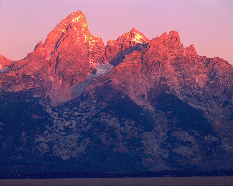 Sunrise alpen glow on the Teton Range; Grand Teton National Park, WY
