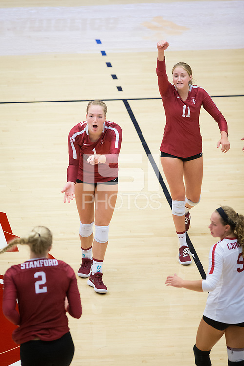 STANFORD, CA - September 9, 2018: Kate Formico, Jenna Gray, Kathryn Plummer, Morgan Hentz at Maples Pavilion. The Stanford Cardinal defeated #1 ranked Minnesota 3-1 in the Big Ten / PAC-12 Challenge.