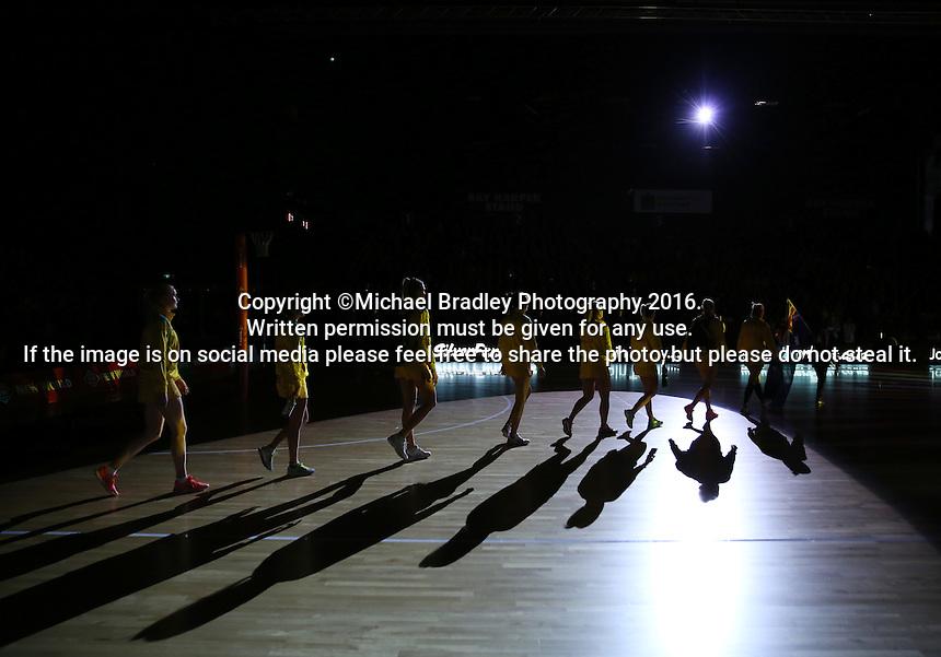 20.10.2016 Australian Diamonds head onto court during the Silver Ferns v Australia netball test match played at ILT Stadium in Invercargill. Mandatory Photo Credit ©Michael Bradley.