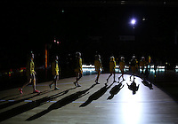20.10.2016 Australian Diamonds head onto court during the Silver Ferns v Australia netball test match played at ILT Stadium in Invercargill. Mandatory Photo Credit ©Michael Bradley.