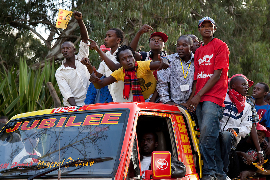 Uhuru Kenyatta supporters celebrate after the official presidential election results announcement in Nairobi, Kenya on March 9, 2013. Uhuru Kenyatta won the Kenya's presidential election with 50.07 % of the vote. Kenyatta faces charges for crimes against humanity at the International Criminal Court for orchestrating the 2007-08 postelection violence. Photo by Benedicte Desrus