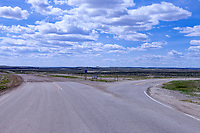 Located near Granger, Wyoming, in the early days of the Highway System the road to the right was US 30 following the Oregon Trail and the road to the left followed the Lincoln Highway to Salt Lake City.