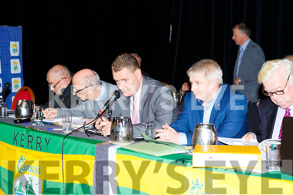 Top table Peter Twiss, Tim Murphy Chairman, Weeshie Lynch at the Kerry GAA County Board Convention in the INEC on Monday night