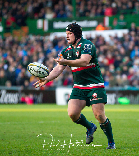 4th November 2017, Welford Road, Leicester, England; Anglo-Welsh Cup, Leicester Tigers versus Gloucester;  Kyle Traynor in action for Leicester Tigers