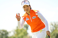 Se Ri Pak acknowledging the fans after making her putt on the 5th hole at the 5th Annual Notah Begay III Foundation Challenge at Atunyote Golf Club in Vernon, New York on August 29, 2012