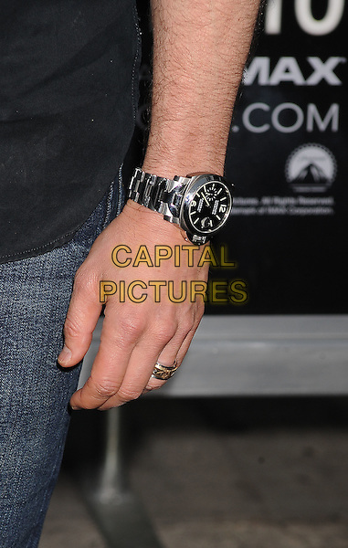 "Tom Cruise's hand.""Super 8"" Los Angeles Premiere held at the Regency Village Theatre, Westwood, California, USA, 8th June 2011..detail wrist watch ring wedding band gold silver engraved .CAP/ROT/TM.©Tony Michaels/Roth Stock/Capital Pictures"