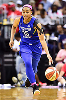 Washington, DC - August 12, 2018: Dallas Wings guard Allisha Gray (15) brings the ball up court during game between the Washington Mystics and the Dallas Wings at the Capital One Arena in Washington, DC. (Photo by Phil Peters/Media Images International)