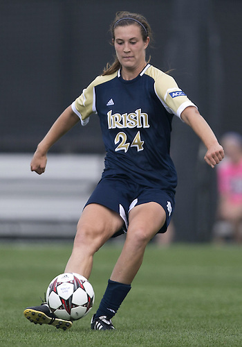September 01, 2013:  Notre Dame defender Katie Naughton (24) kicks the ball upfield during NCAA Soccer match between the Notre Dame Fighting Irish and the UCLA Bruins at Alumni Stadium in South Bend, Indiana.  UCLA defeated Notre Dame 1-0.