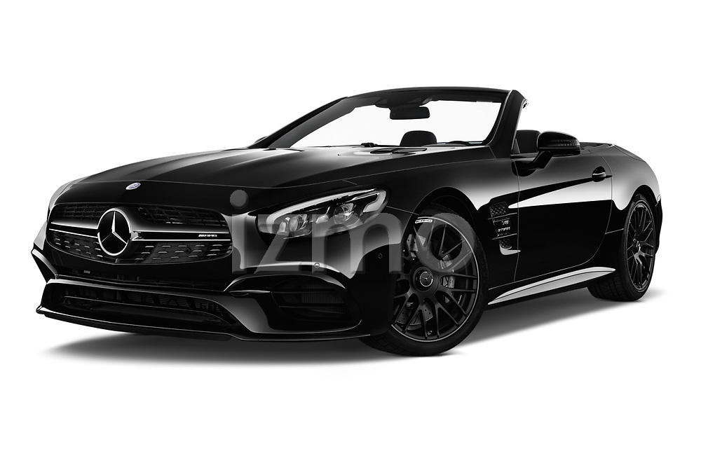 Stock pictures of low aggressive front three quarter view of 2017 Mercedes Benz SL-Class AMG-63 2 Door Convertible Low Aggressive