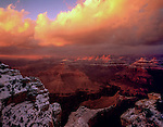 Winter sunset at Powell Point, South Rim, Grand Canyon National Park, Arizona. .  John offers private photo tours in Grand Canyon National Park and throughout Arizona, Utah and Colorado. Year-round.