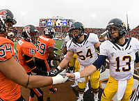 California captains' Cameron Jordan, Mike Mohamed, Chris Guarnero, and Kevin Riley shake hands with Oregon State captains before coin toss before the game against Oregon State at Reser Stadium in Corvallis, Oregon on October 30th, 2010.   Oregon State defeated California, 35-7.