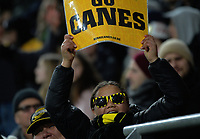 Fans in the grandstand during the Super Rugby match between the Hurricanes and Crusaders at Westpac Stadium in Wellington, New Zealand on Saturday, 15 July 2017. Photo: Dave Lintott / lintottphoto.co.nz