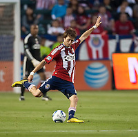 Chivas USA midfielder Blair Gavin (18) about to kick the ball down field during the first half of the game between Chivas USA and the Philadelphia Union at the Home Depot Center in Carson, CA, on July 3, 2010. Chivas USA 1, Philadelphia Union 1.