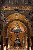 Christ Pantocrator, Norman-Byzantine mosaics in the apse of the Cappella Palatina (Palatine Chapel), 1130 - 1140, by Roger II, within the Palazzo dei Normanni (Palace of the Normans), Palermo, Sicily, Italy. Picture by Manuel Cohen