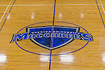 22 November 2015: The Yeshiva University Maccabees logo is seen at center court  prior to a game against the Hunter College Hawks at the Max Stern Athletic Center  in New York, NY. The Maccabees defeated the Hawks 81-71 in non-conference play, for their second win of the season. Mandatory Credit: Ed Wolfstein Photo *** RAW (NEF) Image File Available ***