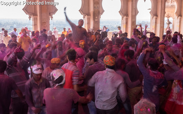 The celebration of the spring colour festival of Holi is especially boisterous in the town of Barsana near Mathura in Uttar Pradesh, India.
