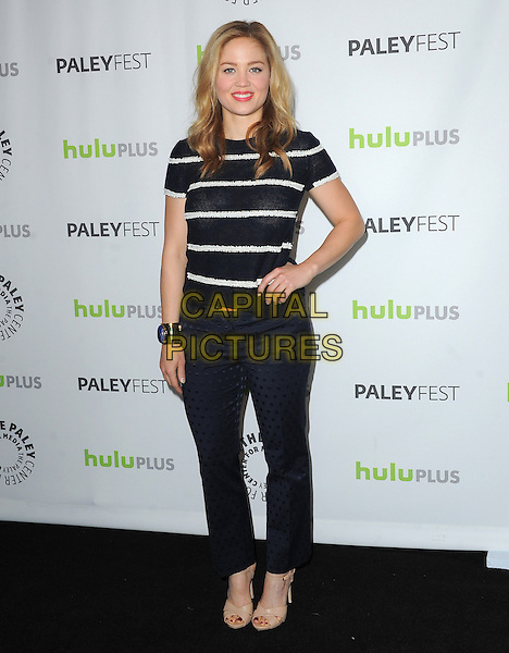 Erika Christensen.at the 30th Annual Paley Fest - 'Parenthood' held at The Saban Theater in Beverly Hills, California, USA, .March 7th, 2013.                                                                    .full length navy blue print trousers white striped stripes top t-shirt hand on hip cuff tone gold bracelet  patterned polka dot .CAP/DVS.©Debbie VanStory/Capital Pictures.