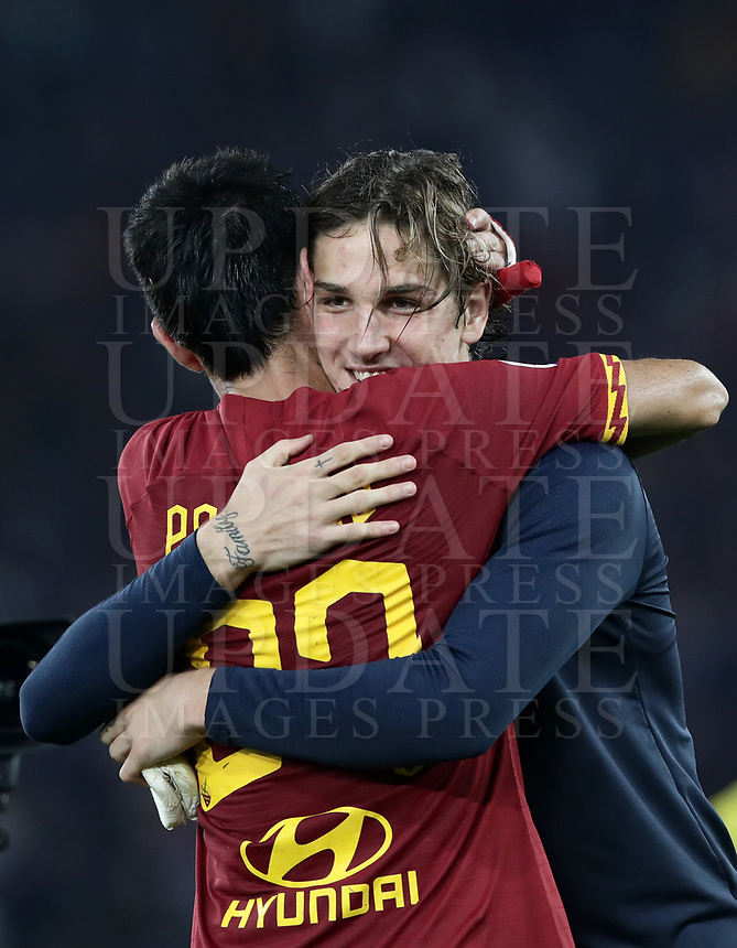 Football, Serie A: AS Roma - AC Milan, Olympic stadium, Rome, October 27, 2019. <br /> Roma's Nicolò Zaniolo (r) and Javier Pastore (l) celebrate after winning 2-1 the Italian Serie A football match between Roma and Milan at Olympic stadium in Rome, on October 27, 2019. <br /> UPDATE IMAGES PRESS/Isabella Bonotto