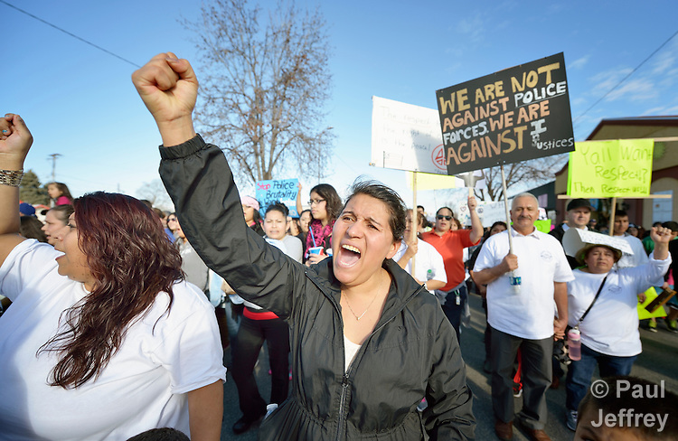A woman participates in a February 14 2015 march in Pasco, Washington, demanding justice for the killing of Antonio Zambrano Montes by three Pasco police officers on February 10. About 700 people participated in the rally and march.