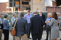 NWA Democrat-Gazette/ANDY SHUPE<br /> David Swain, owner representative for the Walton Arts Center, speaks Tuesday, Sept. 22, 2015, during a tour of the new administrative offices being constructed as part of Fayetteville's $12.3 million municipal parking deck project. The arts center contributed more than $2.2 million to the project which will house administrative staff and include additional back-of-house space for the performing arts center. Visit nwadg.com/photos to see more photographs from the tour.