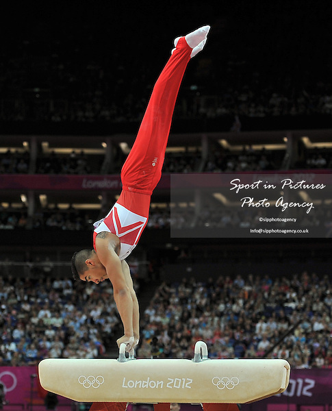 Louis Smith (GBR, Great Britain). Individual Gymnastics - PHOTO: Mandatory by-line: Garry Bowden/SIP/Pinnacle - Photo Agency UK Tel: +44(0)1363 881025 - Mobile:0797 1270 681 - VAT Reg No: 768 6958 48 - 05/08/2012 - 2012 Olympics - North Greenwich Arena, London, England.