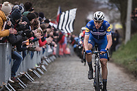 Later winner Niki Terpstra (NED/Quick Step Floors) solo up the 3th passage of the Oude Kwaremont.<br /> <br /> 102nd Ronde van Vlaanderen 2018<br /> 1day race: Antwerp › Oudenaarde - BEL (265k)