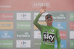 Race leader Christopher Froome (GBR) Team Sky also retains the points Green Jersey on the podium at the end of Stage 17 of the 2017 La Vuelta, running 180.5km from Villadiego to Los Machucos. Monumento Vaca Pasiega, Spain. 6th September 2017.<br /> Picture: Unipublic/&copy;photogomezsport | Cyclefile<br /> <br /> <br /> All photos usage must carry mandatory copyright credit (&copy; Cyclefile | Unipublic/&copy;photogomezsport)