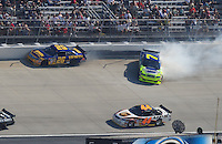 Sept. 21, 2008; Dover, DE, USA; Nascar Sprint Cup Series driver Jamie McMurray (26) hits the wall after contact with a spinning Robby Gordon (7) during the Camping World RV 400 at Dover International Speedway. Mandatory Credit: Mark J. Rebilas-