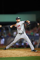 New Britain Rock Cats pitcher Shane Broyles (20) delivers a pitch during a game against the Reading Fightin Phils on August 7, 2015 at FirstEnergy Stadium in Reading, Pennsylvania.  Reading defeated New Britain 4-3 in ten innings.  (Mike Janes/Four Seam Images)