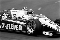 EAST RUTHERFORD, NJ - JUNE 30: Emersdon Fittipaldi drives his March 85C/Cosworth during the Meadowlands U.S. Grand Prix CART IndyCar race at the Meadowlands Sports Complex in East Rutherford, New Jersey, on June 30, 1985.