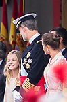 King Felipe VI of Spain and Princess Leonor of Asturias (l) during the Military parade because of the Spanish National Holiday. October 12, 2019.. (ALTERPHOTOS/ Francis Gonzalez)