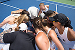 The Vanderbilt Commodores huddle up prior to their match against the Stanford Cardinal during the finals of the 2018 NCAA Women's Tennis Championship at the Wake Forest Tennis Center on May 22, 2018 in Winston-Salem, North Carolina. The Cardinal defeated the Commodores 4-3. (Brian Westerholt/Sports On Film)