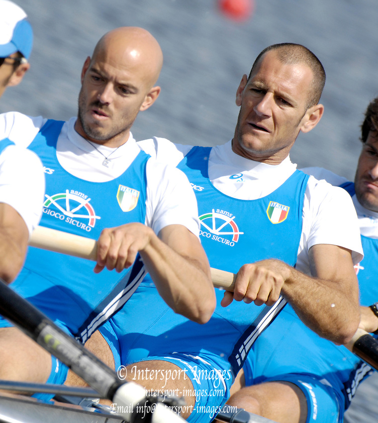 Poznan, POLAND,ITA M4-, right  Alessio SARTORI and Lorenzo CARBONCINI , at the start of their Repechage at the 2008 FISA World Cup. Rowing Regatta. Malta Rowing Course on Saturday, 21/06/2008. [Mandatory Credit:  Peter SPURRIER / Intersport Images] Rowing Course:Malta Rowing Course, Poznan, POLAND