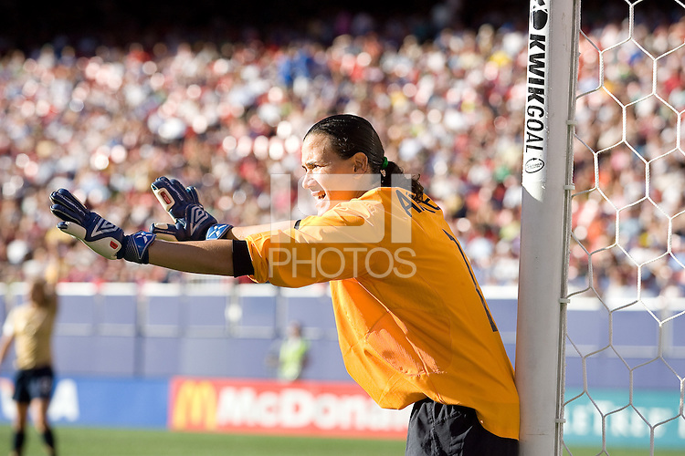 Brazil goalkeeper Andrea lines up her wall. USA defeated Brazil 2-0 at Giants Stadium on Sunday, June 23, 2007.