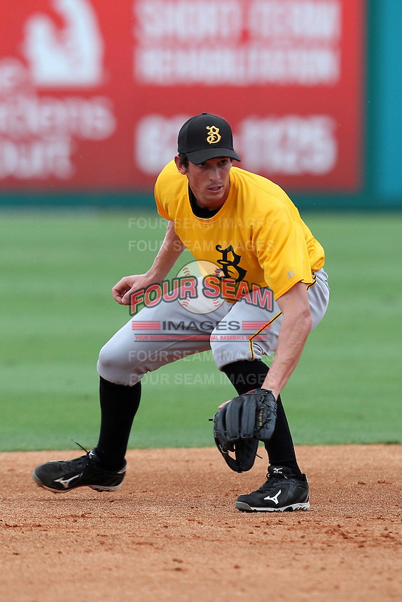 Bradenton Marauders third baseman Stefan Welch #16 during practice before a game against the Jupiter Hammerheads at Roger Dean Stadium on April 30, 2012 in Jupiter, Florida.  Bradenton defeated Jupiter 8-0.  (Mike Janes/Four Seam Images)