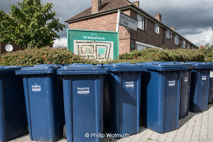 Recycling bins on Old Westcroft Estate, Barnet.